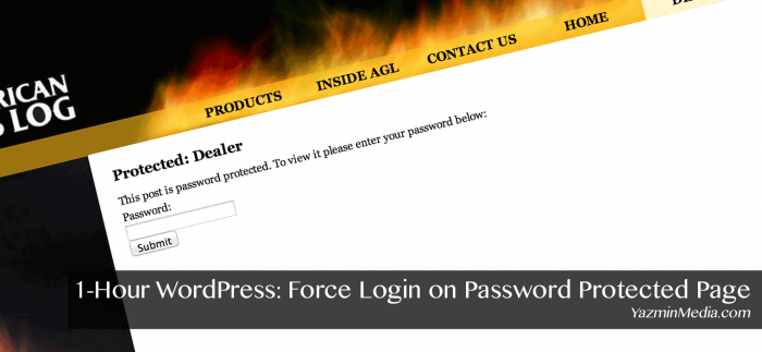Force Login on Password Protected Page