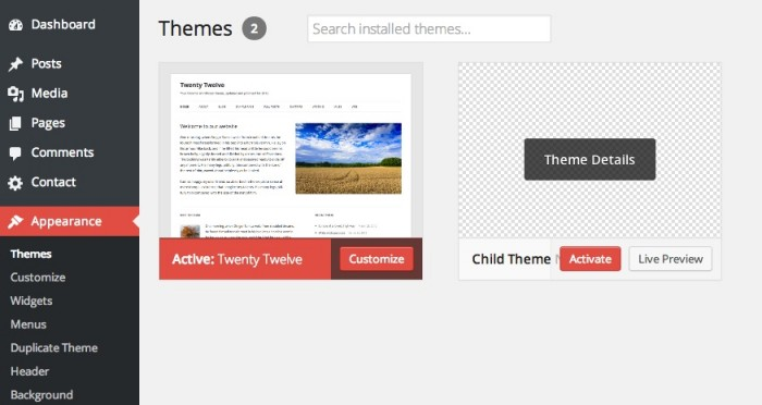 How To Active Child Theme