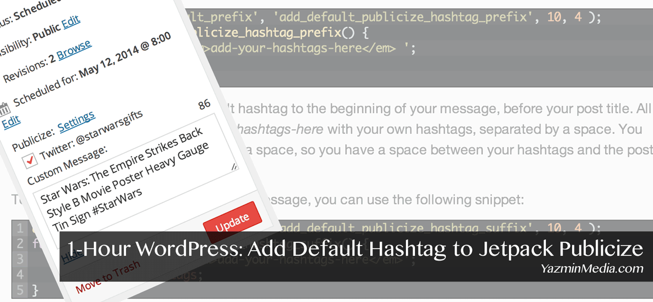 1-Hour WordPress: Add Default Hashtag to Jetpack Publicize