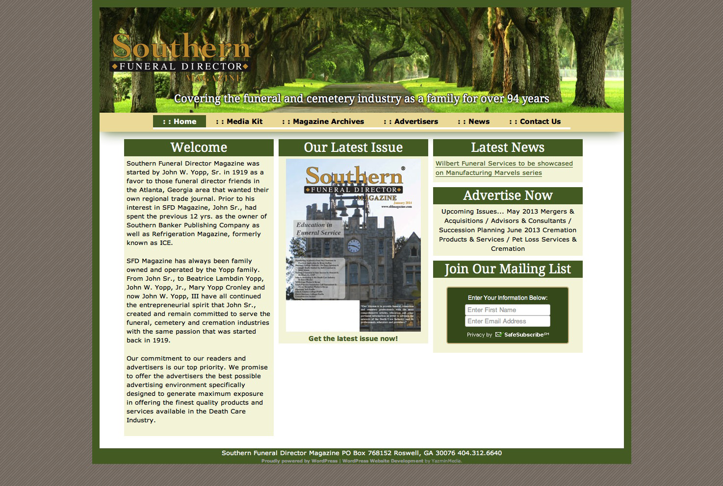 Website Migration: Southern Funeral Director Magazine